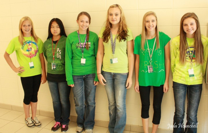 Some of last year's freshmen line up in green. Photo by Jada Hounchell