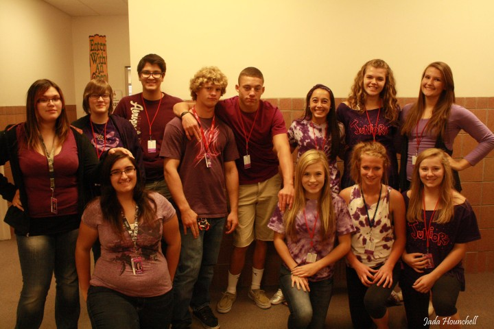 Juniors from last year sport their purple. Photo by Jada Hounchell