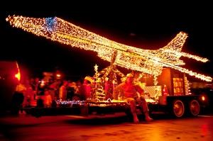 Ellsworth Air Force Base enters their bomber lights annually to the parade of lights. Photo courtesy of the US Air Force.