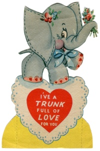 """vintage valentine card: elephant"" from Karen Horton on Flickr"