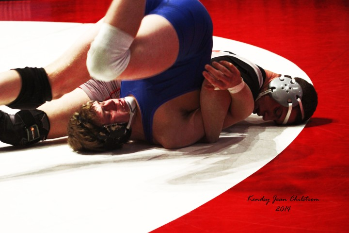 """""""Pinned"""" is a position many of Mueller's opponents find themselves in. Photo by Kendsy Chilstrom."""