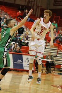 Tanner finishes off a pass. Photo by Brooke Heppner.