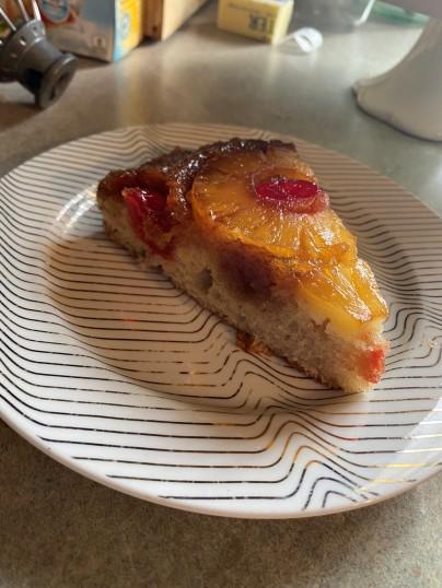 upside down pineapple cake slice